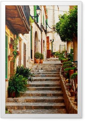 Plakat w ramie Ulica w miejscowości Valldemossa na Majorce