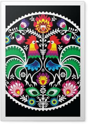 Poster en cadre Broderie florale polonais avec des coqs - folklorique -