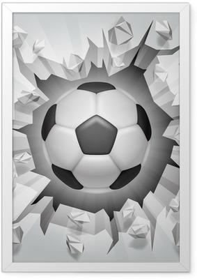 Ingelijste Poster Voetbal en gebarsten muur.