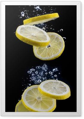 slice of lemon in the water Framed Poster