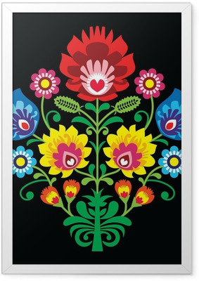 Poster en cadre Broderie folklorique polonaise avec des fleurs - modèle traditionnel
