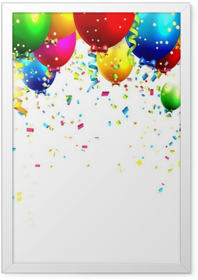 Colorful birthday balloons and confetti - vector background Framed Poster