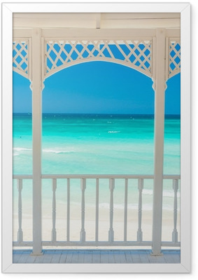 Wooden terrace with a view of a tropical beach in Cuba Framed Poster
