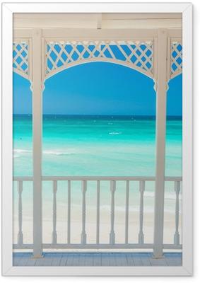 Poster en cadre Terrasse en bois avec vue sur une plage tropicale à Cuba