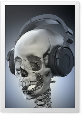 Human skull with headphones Framed Poster