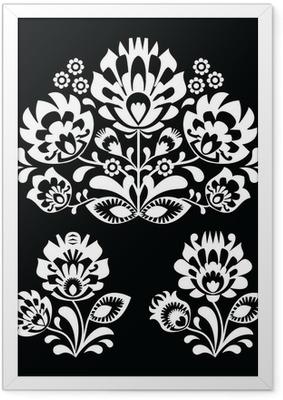 Poster en cadre Floral polonais folklorique motif blanc sur fond noir - Lowicki Wzory