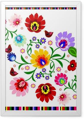Poster i Ram Traditionella polska blom folk mönster vektor
