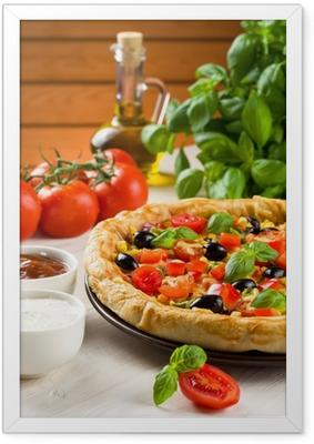 Ingelijste Poster Pizza op houten tafel