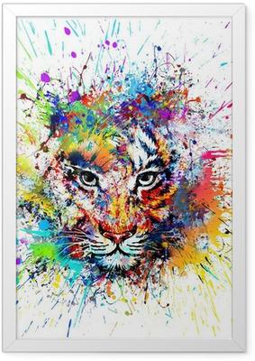 Gerahmtes Poster Hellen Hintergrund mit Tiger