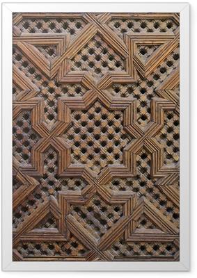 Ingelijste Poster Marokkaanse Cederhout Arabesque Carving
