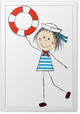 Funny girl wearing sailor costume Framed Poster