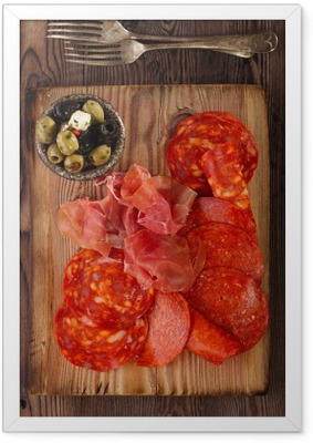 Platter of serrano jamon Cured Meat, chorizo and olives Framed Poster
