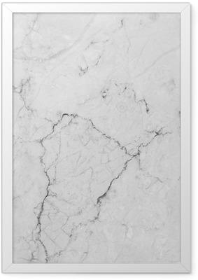 Poster en cadre Marbre blanc avec motif naturel.