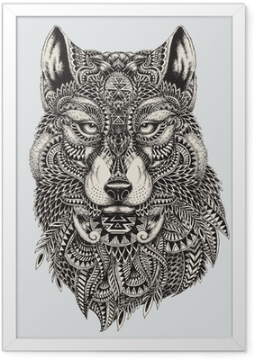 Póster com Moldura Highly detailed abstract wolf illustration