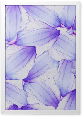 Watercolor Seamless pattern with Purple flower petal Framed Poster