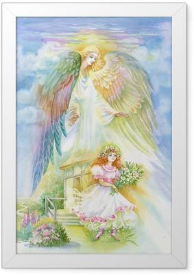 Vesiväri enkeli Kehystetty juliste
