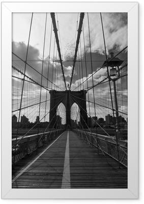 Poster en cadre Pont de Brooklyn Noir et Blanc - New York