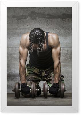 Póster Enmarcado Atleta músculo cansado