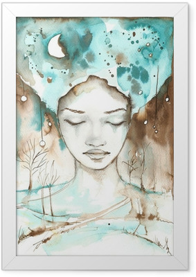 Poster en cadre Fabuleuse illustration d'un portrait abstrait d'une fille.