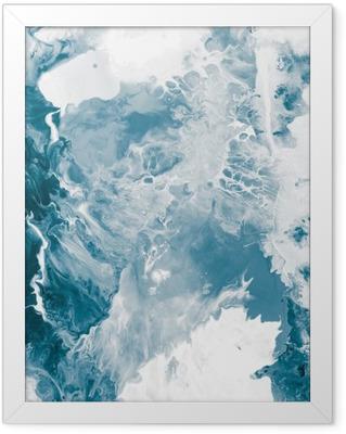 Ingelijste Poster Blauwe marmeren textuur