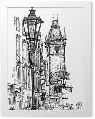 Prague, Czech Republic - a vector sketch Framed Poster