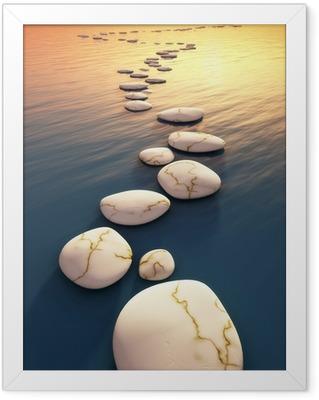 Ingelijste Poster Stap stenen zonsondergang