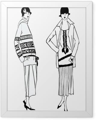 Poster en cadre Filles aileron (1920 style): party mode rétro