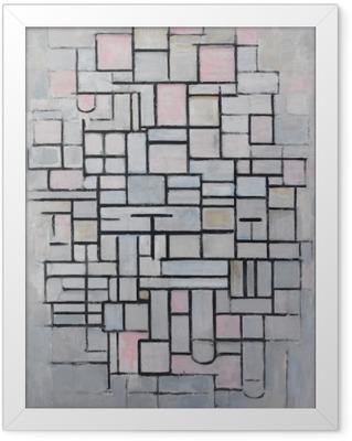 Piet Mondrian - Sammensætning nr 4 Indrammet plakat