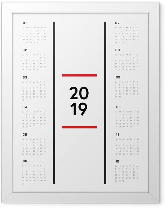 Plakát v rámu Kalendář 2019 - Minimalistický -