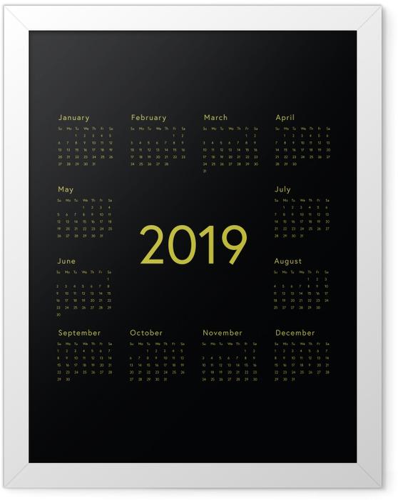 Ingelijste Poster Kalender 2019 - zwart -