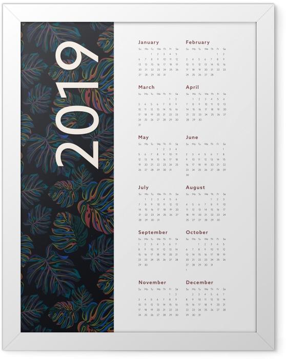Plakát v rámu Kalendarz 2019 - květy -