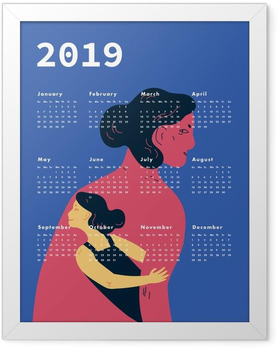 Plakát v rámu Kalendarz 2019 - ženy -