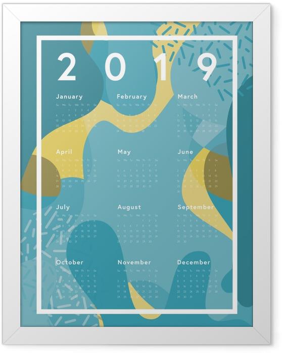 Plakát v rámu Kalendář 2019 - modrá abstrakce -