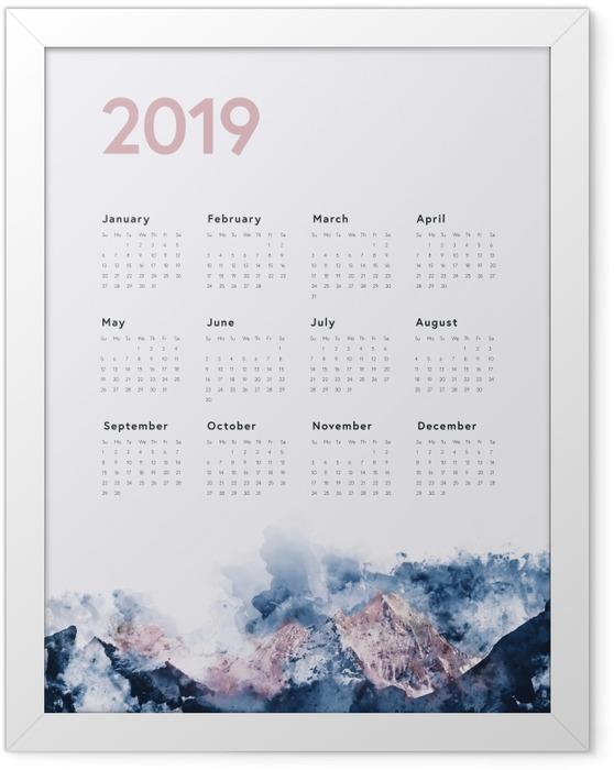 Gerahmtes Poster Kalender 2019 - Berge -