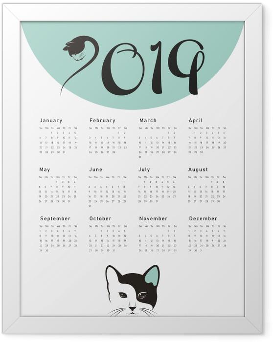Gerahmtes Poster Kalender 2019 - cat -