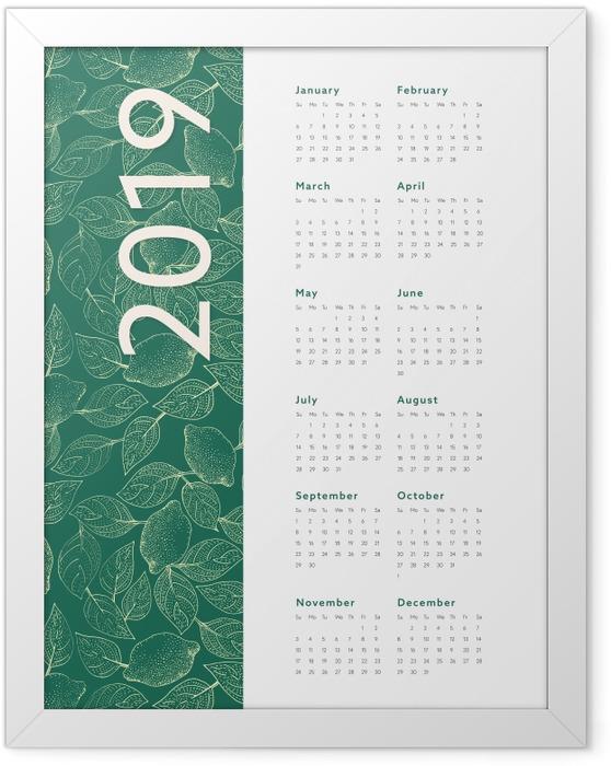 Plakat w ramie Kalendarz 2019 – Liście - Kalendarze 2018