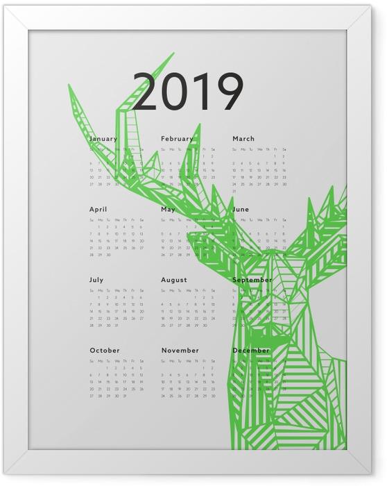 Ingelijste Poster Kalender 2019 - Groene herten -