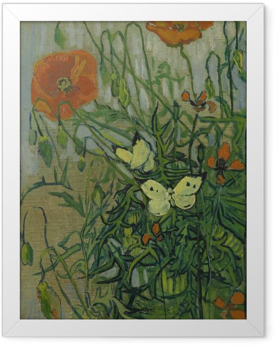 Poster en cadre Vincent van Gogh - Coquelicots et papillons - Reproductions