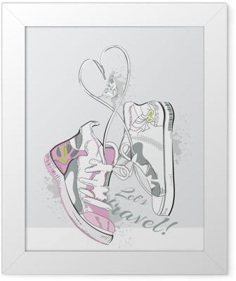 Poster en cadre Paire de baskets à lacets en forme de coeur. Hand drawn illustration vectorielle.