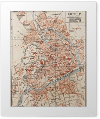 Gerahmtes Poster Vintage Karte von Erfurt
