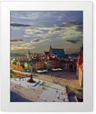 Poster i Ram Warszawa slott torg och solnedgång