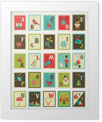 Plakat w ramie Boże Narodzenie alfabetu z cute retro wektora ikon xmas