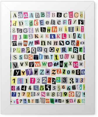 Vector Ransom Note-Cut Paper Letters, Numbers, Symbols Indrammet plakat