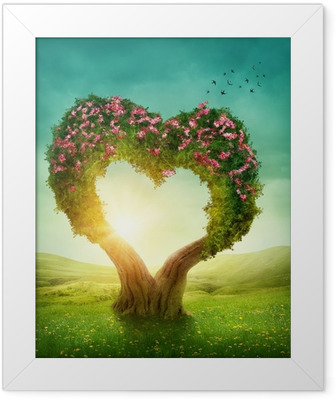 Gerahmtes Poster Heart shaped Baum