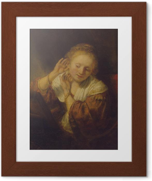 Póster Enmarcado Rembrandt - Mujer joven que intenta en los pendientes - Reproducciones
