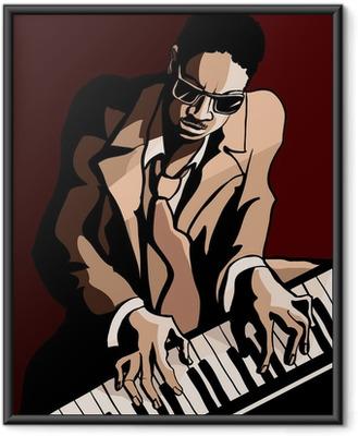 Poster en cadre Afro pianiste de jazz américain