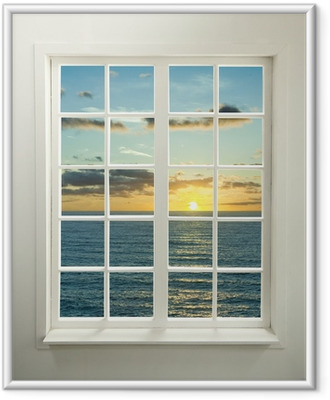 Póster com Moldura Modern residential window with sunset over sea and clouds