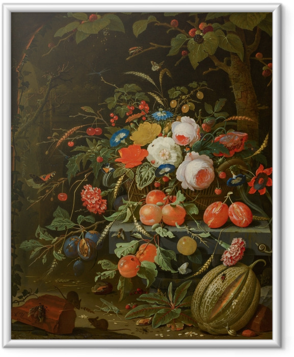 Plakat w ramie Abraham Mignon - Flowers and Fruit - Reprodukcje
