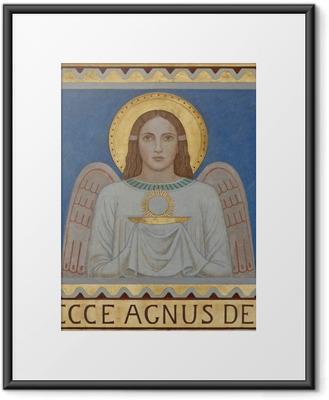 Gerahmtes Poster Wien - Fresco symbolischer Engel mit der Eucharistie