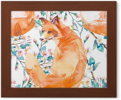 Obraz na plátně Vyšívací spací liška a květiny bezešvé vzor. módní šablona  pro návrh oblečení. klasické výšivkové bezproblémové pozadí. červená liška  spí v ... 32e3b40d1b
